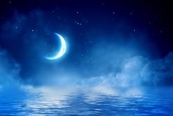 Half moon in starry sky