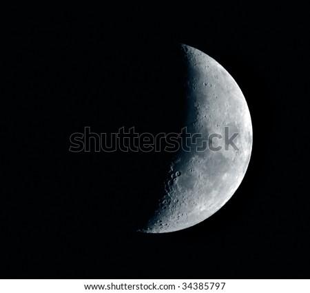Half moon in the night