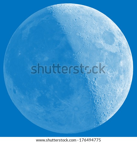 Half Moon with a shade on a 'darker side'. Sharp details on the surface.