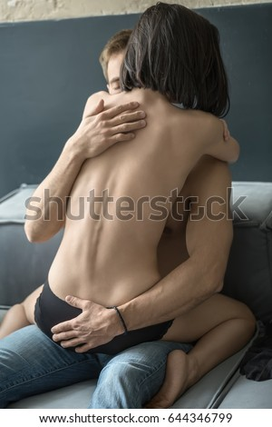 woman hugging naked and Hot man