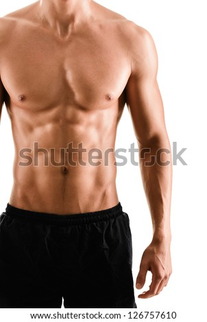 Half naked sexy body of muscular athletic sportsman, isolated on white