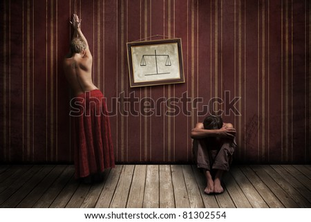 Half-naked woman and man in the room
