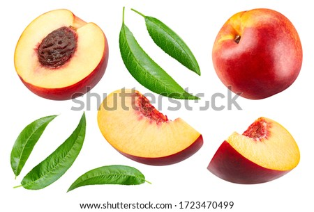 Half nectarine fruit with leaf isolated. Peach collection with clipping path. Full depth of field