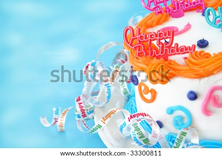 Half of a birthday cake with the words happy birthday as a decoration on top of the cake.  Ribbons are surrounding the bottom of the cake that say Happy Birthday.  Room for text.