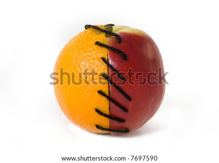 Half of apple and orange tied together