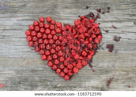 half of bright red heart crushed #1183712590