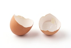 half of broken eggshells isolated on a white background. The eggshell is broken into 2 pieces. Eggshells are oval, brown, brittle and thin, easily broken.