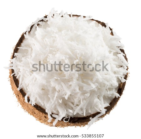 half of coconut with coconut flakes isolated on the white background #533855107