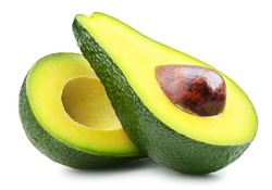 Half of fresh avocado isolated on white. Ripe fresh green avocado Clipping Path