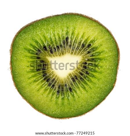 Half of fresh kiwi isolated on white background