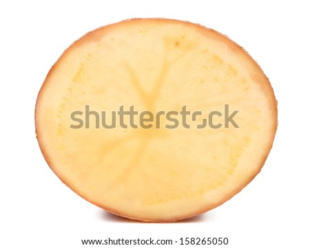 Half of fresh potato. Isolated on a white background.