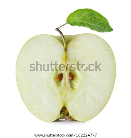Half of green apple on white background