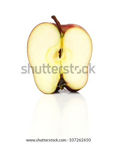 Half of juicy red apple on a white background