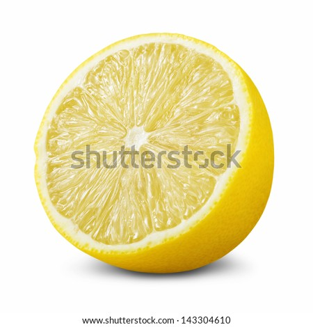 Half of lemon isolated on white background