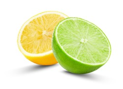 half of lime and lemon isolated on the white background