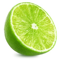 Half of lime citrus fruit. Lime cut isolated on white background. Sliced lime half with clipping path
