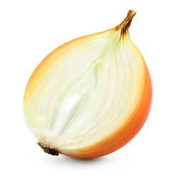 Half of onion bulb isolated on white background. With clipping path. Full depth of field.