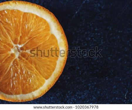 Half of orange/ close up cutting orange/ pulpy #1020367978