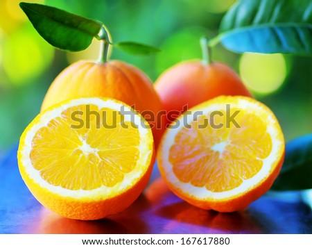 Half of orange fruits