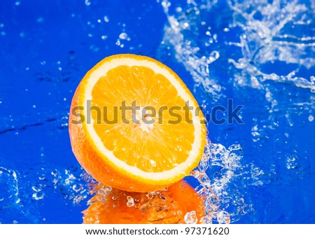 Half of orange in water splash