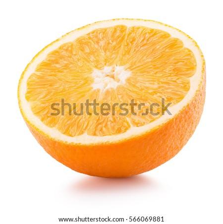 half of orange isolated on the white background