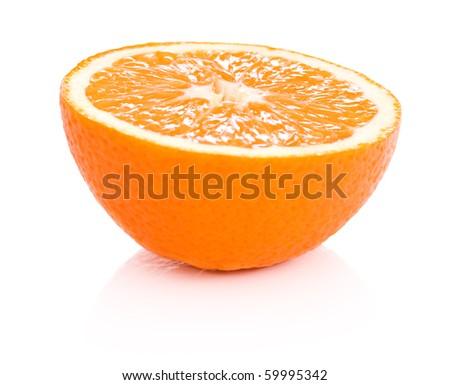 Half of orange isolated on white background