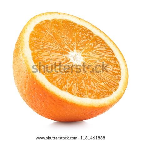 Half of perfectly retouched orange fruit isolated on white background
