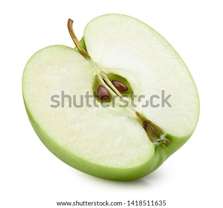 Half of ripe green apple isolated on white. Close up shot of sliced green apple. Juicy fresh apples Clipping Path. Quality macro photo