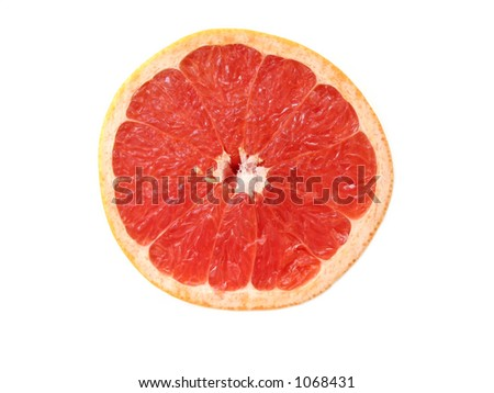 Half of rubi red grapefruit, isolated on white, top view #1068431