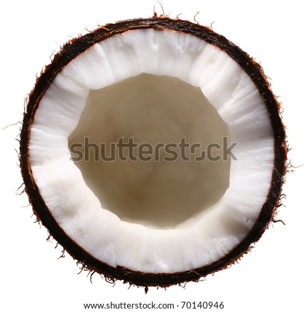 Half of the coconut is isolated on a white background. File contains a clipping paths.
