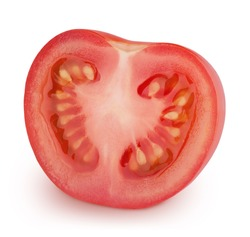 Half of tomato isolated on a white background. Clip art image for package design.