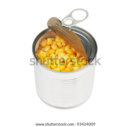 half opened corn can isolated with clipping path on a white background