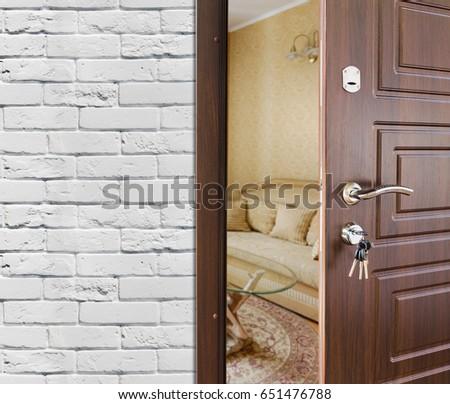 open door welcome. Beautiful Welcome Half Opened Door Handle Closeup Entrance To A Living Room Welcome  Privacy Concept Intended Open Door Welcome