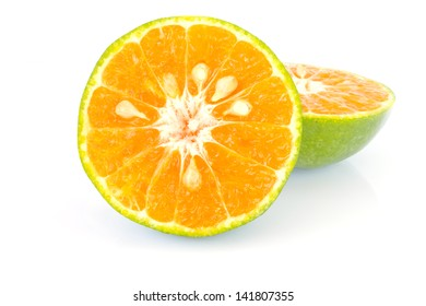 Stock Photo - half orange on white background