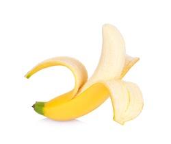 Half peeled Banana, Open Banana isolated on a white background.