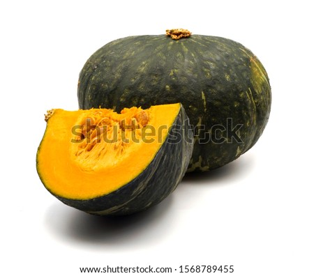 half piece and quarter piece of pumpkin slice ,isolated on white background