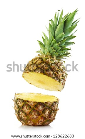 half pineapple on white background