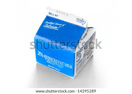 stock photo : Half Pint Milk Carton on a table