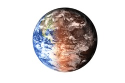 Half planet Earth with atmosphere with half Mars planet of solar system isolated on white background. Death of the planet. Elements of this image were furnished by NASA. For any purprose use.