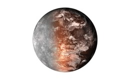Half planet mars with atmosphere with half mercury planet of solar system isolated on white background. Death of the planet. Elements of this image were furnished by NASA. For any purprose use.