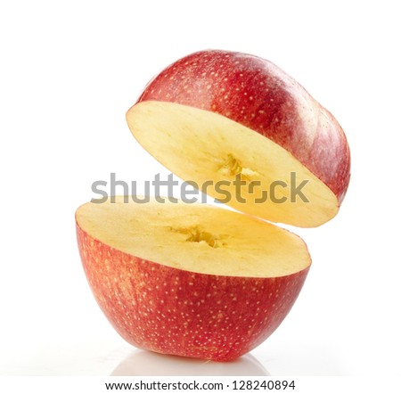 half red apple on white background