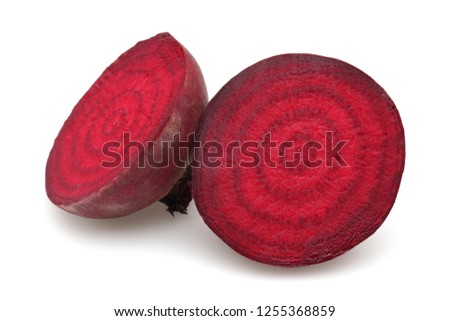 Half red beet roots isolated on white background