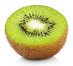 Half ripe kiwi fruit isolated on white background