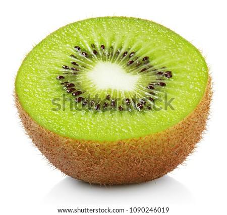 Half ripe kiwi fruit isolated on white background #1090246019