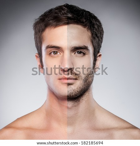 Half shaved. Handsome young man with half shaved face looking at camera while standing against grey background