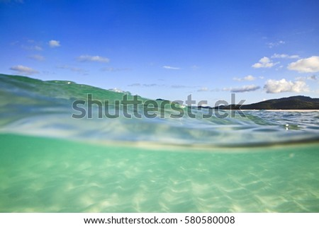 Half-submerged in clean transparent green salt water of coral sea at white silica Whitehaven beach on Whitsunday island of Great Barrier Reef, Australia. #580580008