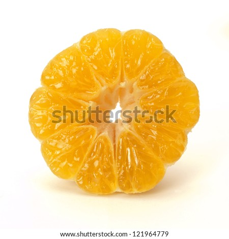 half tangerine isolated on white