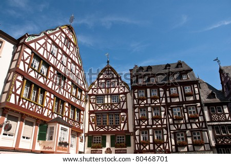 Half-timber houses in the market place of Bernkastel-Kues