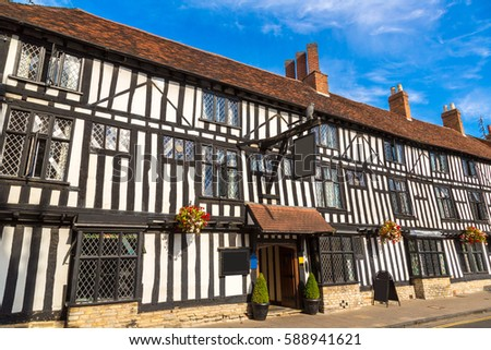 Half-timbered house in Stratford upon Avon in a beautiful summer day, England, United Kingdom