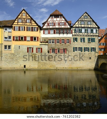 Half-timbered houses in the historic city center. Schwabisch Hall is historical town in the German state of Baden-Wurttemberg and located in the valley of the river Kocher #761202382